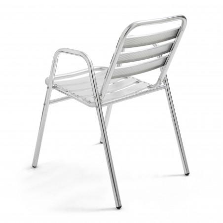 Chaise avec accoudoirs en aluminium terrasse restaurant