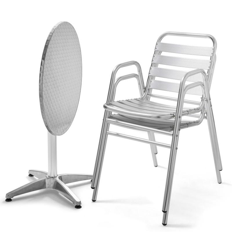 Table ronde bistro et 2 fauteuils empilables en aluminium