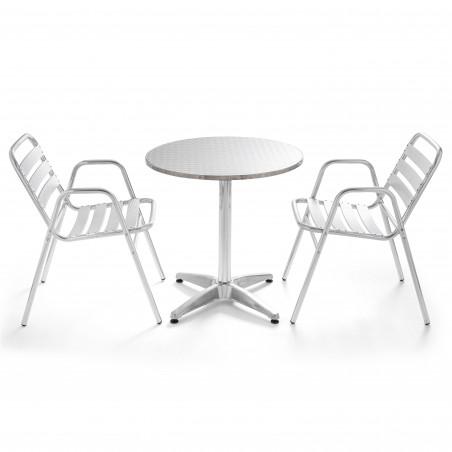 Table ronde en aluminium 4 places et 2 chaises avec accoudoirs