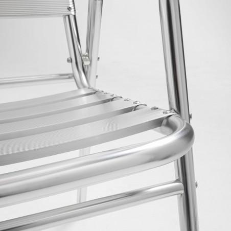 Focus chaise terrasse bistro café en aluminium