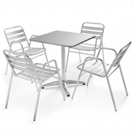 Table carrée de terrasse CHR et 4 chaises empilables