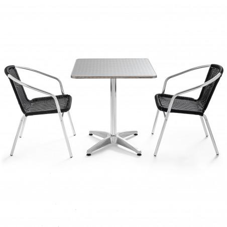 Table carrée bistro CHR et 2 fauteuils noirs empilables