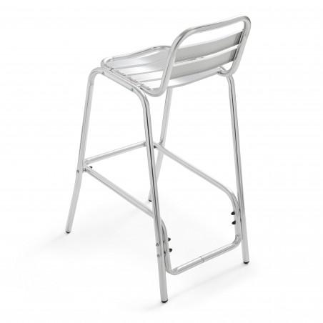 Chaise haute aluminium gris pour terrasse extérieur pro