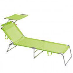 chaise longue pliable verte avec pare soleil