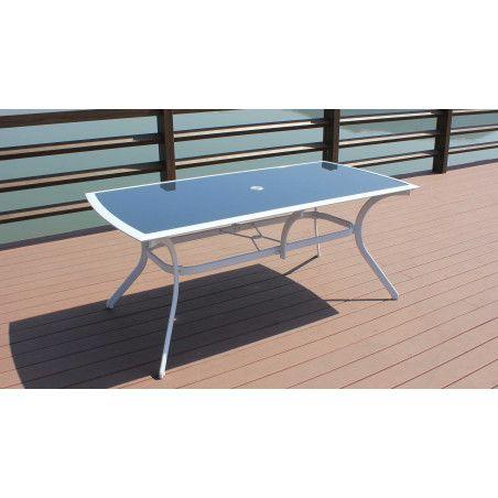 Table de jardin en aluminium et verre et 8 fauteuils pliants