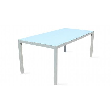 Table de jardin 6 places aluminium et verre