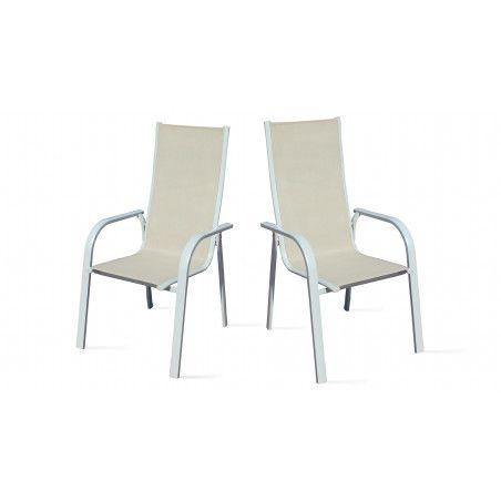 Deux fauteuils de jardin en aluminium et textilène