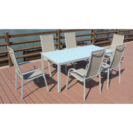 Table de jardin et 6 chaises de jardin beiges