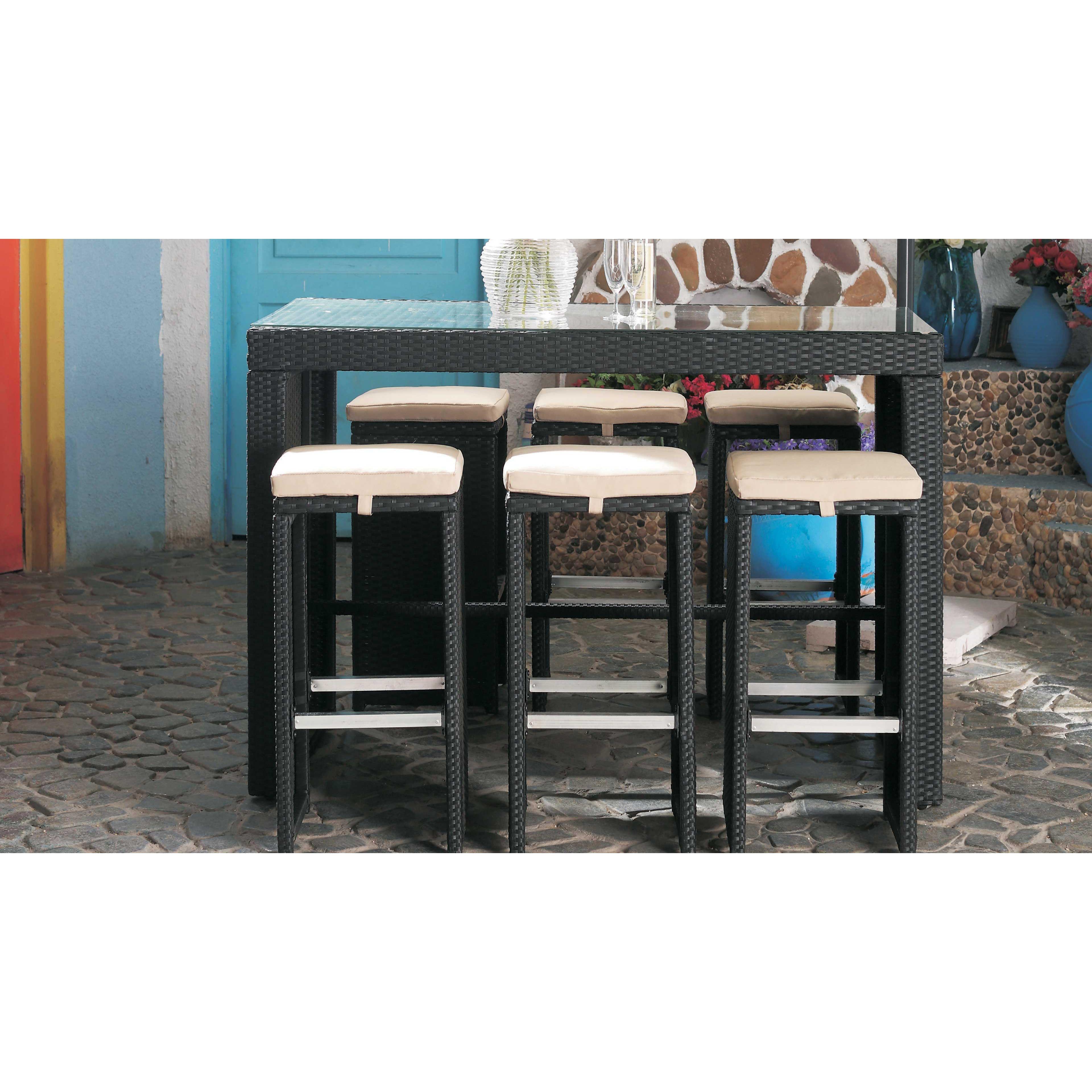 Table bar de jardin en résine tressée