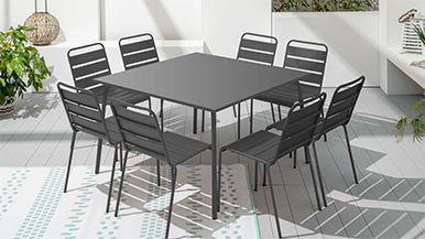 Table carrée de jardin en métal 8 places | Oviala