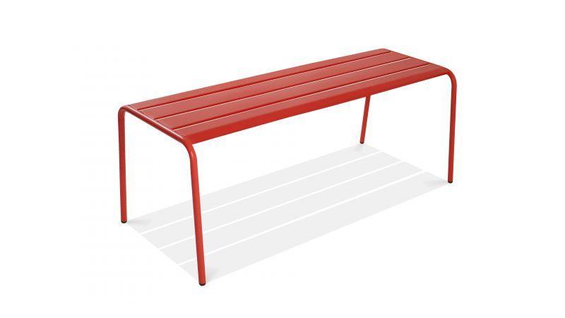 banc jardin metal design rouge