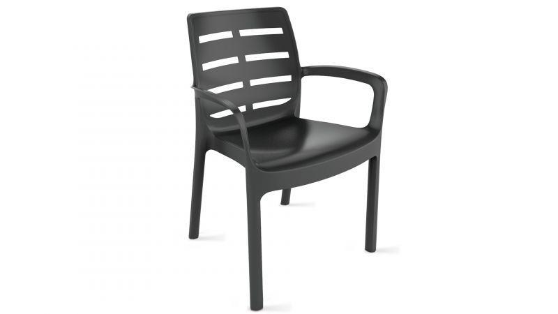 chaise de jardin en plastique gris
