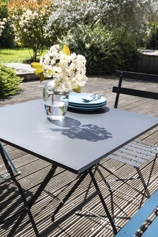 table pliable grise de jardin acier