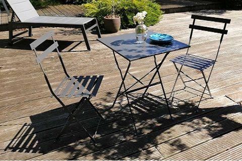 Table bistrot pliante en acier 2 places