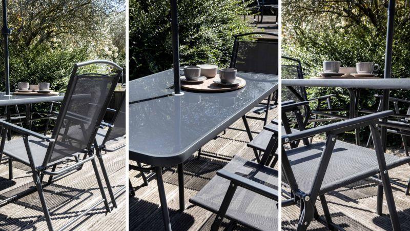 Table de jardin pliante + parasol Bormes