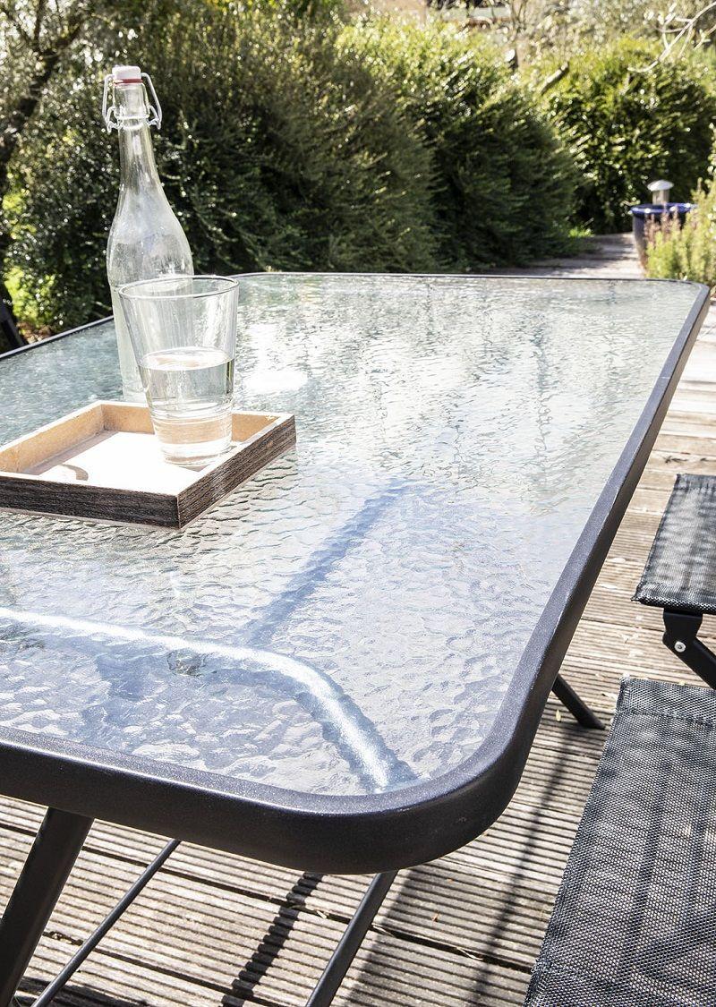 table de jardin pliante plateau verre